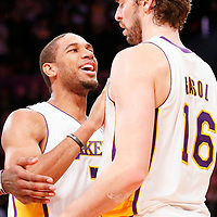 03 November 2013: Los Angeles Lakers shooting guard Xavier Henry (7) congratulates Los Angeles Lakers power forward Pau Gasol (16) during the Los Angeles Lakers 105-103 victory over the Atlanta Hawks at the Staples Center, Los Angeles, California, USA.