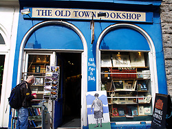 Old fashioned bookshop in the Old town district of Edinburgh Scotland