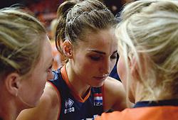 04-10-2015 NED: Volleyball European Championship Final Nederland - Rusland, Rotterdam<br /> Nederland verliest kansloos de finale met 3-0 van Rusland en moet genoegen nemen met zilver / Teleurstelling Myrthe Schoot #9