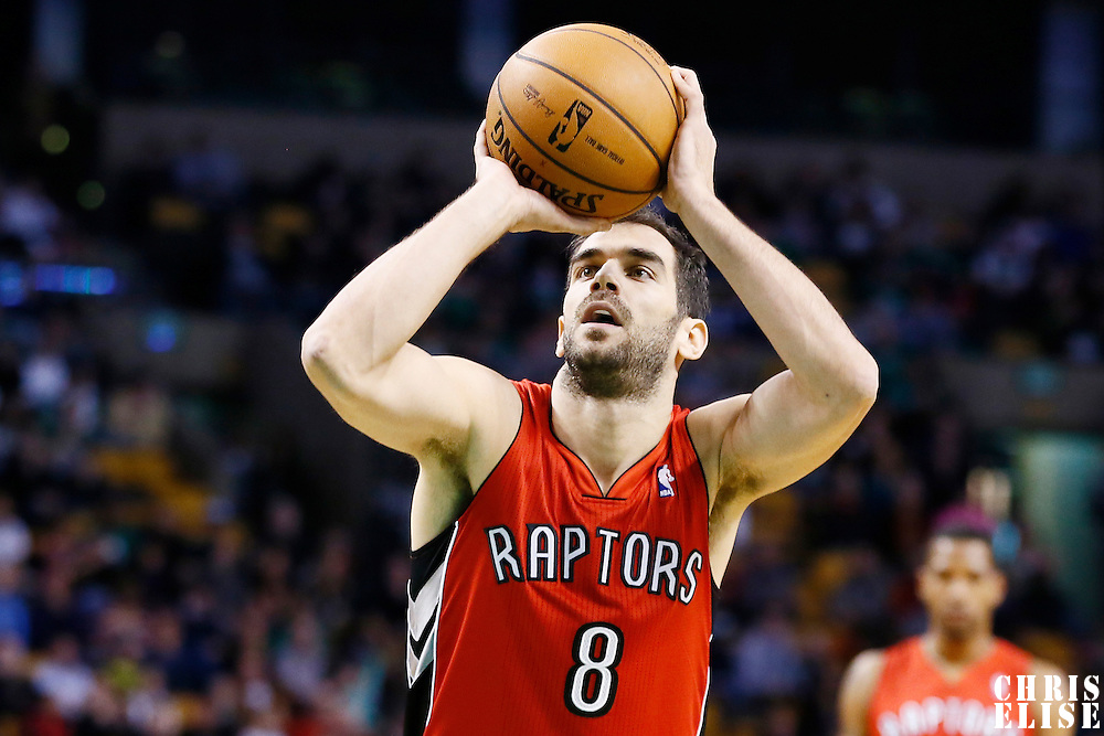 17 November 2012: Toronto Raptors point guard Jose Calderon (8) is seen at the free throw line during the Boston Celtics 107-89 victory over the Toronto Raptors at the TD Garden, Boston, Massachusetts, USA.