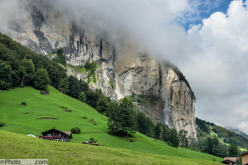 Lauterbrunnen village is in the canton of Bern, Switzerland, the Alps, Europe.