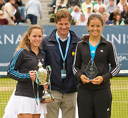 LIVERPOOL, ENGLAND - Saturday, June 20, 2009: Tournament Director Anders Borg (C) with Michelle Larcher De Brito (POR) and Laura Robson (GBR) during Day Four of the Tradition ICAP Liverpool International Tennis Tournament 2009 at Calderstones Park. (Pic by David Rawcliffe/Propaganda)