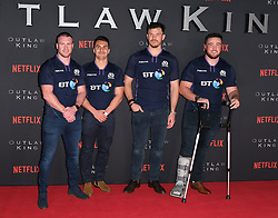 Outlaw King Premiere, Edinburgh, Friday 19th October 2018<br /> <br /> Outlaw King is a Netflix film and follows 14th century Scottish king Robert the Bruce prior to his coronation and through to his rebellion against the English, who at the time were occupying Scotland.<br /> <br /> Stars, crew and guests appear on the red carpet for the Scottish premiere.<br /> <br /> Pictured: Scottish rugby players (l to r) Stuart Hogg, Damien Hoyland, Tim Swinson and Zander Fagerson<br /> <br /> Alex Todd | Edinburgh Elite media