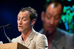 © London News Pictures. 24/05/2015. Hay-on-Wye, Powys, Wales, UK. Jude Law at the Letters Live event featuring Jude Law, Louise Brealey, Sarah Lancashire, Sandi Toksvig, Colm Tóibín, Andrew O'Hagan, Kelvin Jones, Lisa Dwan and Stephen Fry. Photo credit : Graham M. Lawrence/LNP.