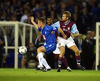 Fotball, 16. september 2002. FA Barclaycard premiership,  Birmingham - Aston Villa 3-0. Olof Mellberg, Aston Villa, og Geoff Horsfield, Birmingham.