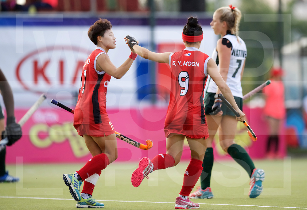 SANTIAGO - 2016 8th Women's Hockey Junior World Cup<br /> KOR v ZIM (Pool A)<br /> foto: Hyejin Cho (C) and Soyun Moon celebraten.<br /> FFU PRESS AGENCY COPYRIGHT FRANK