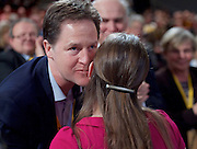 Lib Dem Spring Conference day 1 <br /> at the Echo Arena / BT Convention centre in Liverpool, Great Britain <br /> 14th March 2015 <br /> <br /> Jo Swinson MP<br /> keynote speech being kissed by Nick Clegg <br /> <br /> <br /> Photograph by Elliott Franks <br /> Image licensed to Elliott Franks Photography Services