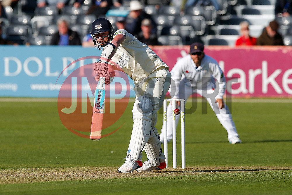 Liam Norwell of Gloucestershire is bowled out for a golden duck by Mark Footitt of Derbyshire - Photo mandatory by-line: Rogan Thomson/JMP - 07966 386802 - 26/04/2015 - SPORT - CRICKET - Bristol, England - Bristol County Ground - Gloucestershire v Derbyshire — Day 1 - LV= County Championship Division Two.
