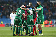 MADRID, SPAIN. January 24, 2018 - Leganes players celebrate after defeating los blancos. Real Madrid pushed right to the end but were ultimately unable to get the better of Leganés, who scored twice, once in either half, to knock the Whites out of the Copa del Rey. . Photos by Antonio Pozo | PHOTO MEDIA EXPRESS