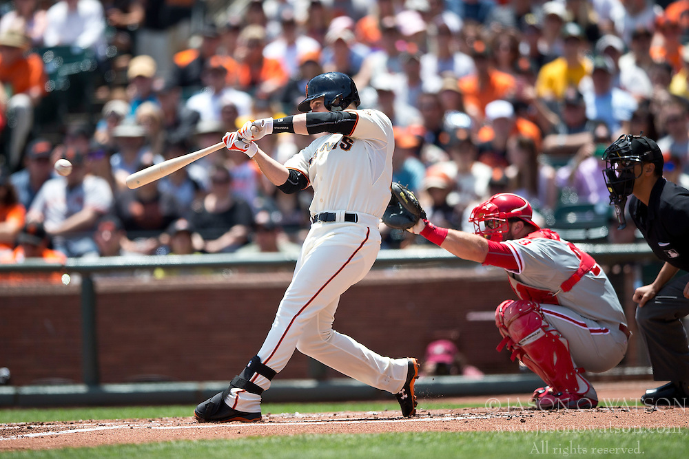 SAN FRANCISCO, CA - JULY 12:  Buster Posey #28 of the San Francisco Giants hits a single against the Philadelphia Phillies during the second inning at AT&T Park on July 12, 2015 in San Francisco, California.  (Photo by Jason O. Watson/Getty Images) *** Local Caption *** Buster Posey