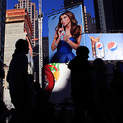 Modern Family actress Sofia Vergara featured in the Pepsi Adverts in Time Square, New York. Times Square is the major commercial intersection in Midtown Manhattan, New York City, at the junction of Broadway and Seventh Avenue and stretching from West 42nd to West 47th Streets. Time Square, New York, USA. 27th April 2012. Photo Tim Clayton