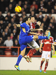 FORESTS ANDY REID, Battles with LEICESTERS MATTY JAMES, Nottingham Forest v Leicester City, City Ground Nottingham,  Sky Bet Championship, 19th Febuary 2014