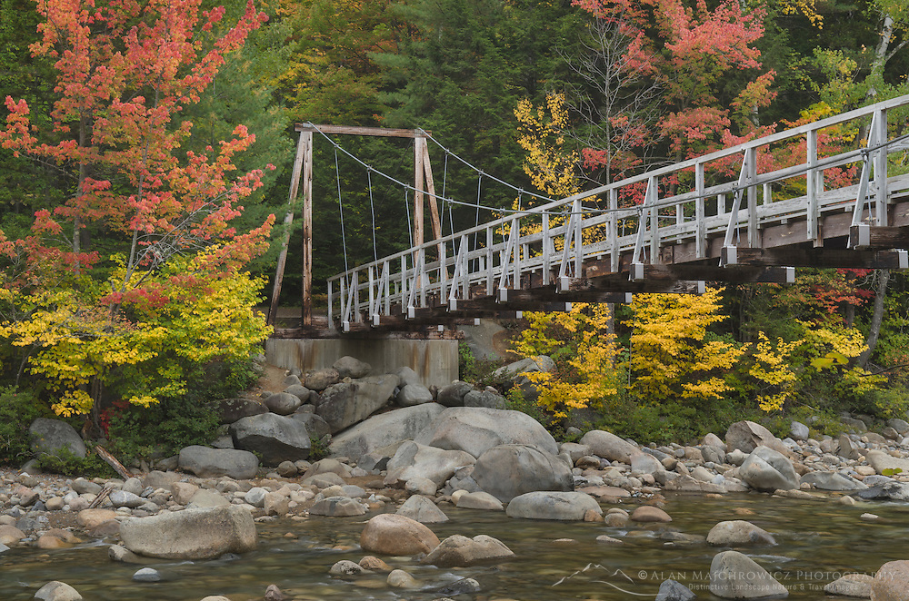 Suspension Bridge  over East Branch Pemigewasset River, White Mountains New Hampshire