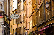 Restaurants and galleries in old town Vieux Lyon, France (UNESCO World Heritage Site)