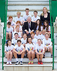 LIVERPOOL, ENGLAND - Sunday, June 21, 2015': Tournament Referee Alan Mills with the ball girls and ball boys during Day 4 of the Liverpool Hope University International Tennis Tournament at Liverpool Cricket Club. (Pic by David Rawcliffe/Propaganda)