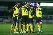 Jamie Murphy of Burton Albion (29) shoots and scores a goal  and celebrates during the EFL Sky Bet League 1 match between Burton Albion and Oxford United at the Pirelli Stadium, Burton upon Trent, England on 11 February 2020.