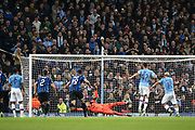 Manchester City forward Sergio Aguero (10) scores from the penalty spot to make it 2-1 during the Champions League match between Manchester City and Atalanta at the Etihad Stadium, Manchester, England on 22 October 2019.