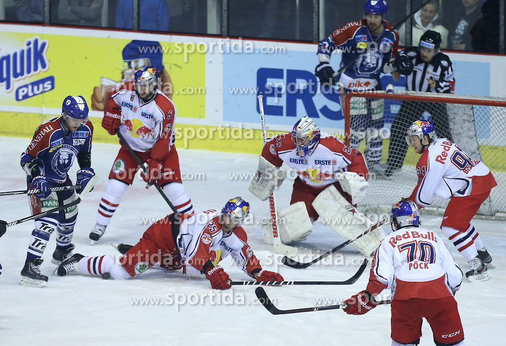 24.02.2013, Dom Sportova, Zagreb, CRO, EBEL, KHL Medvescak Zagreb vs EC Red Bull Salzburg, Playoff best of seven, 1. Runde, im Bild Adam Naglich, Alexander Pallestrang, Robert Davison, Bernd Bruckler // during the Erste Bank Icehockey League playoff best of seven 1st round match between KHL Medvescak Zagreb and EC Red Bull Salzburg at the Dom Sportova, Zagreb, Croatia on 2013/02/24. EXPA Pictures © 2013, PhotoCredit: EXPA/ Pixsell/ Marko Lukunic..***** ATTENTION - for AUT, SLO, SUI, ITA, FRA only *****