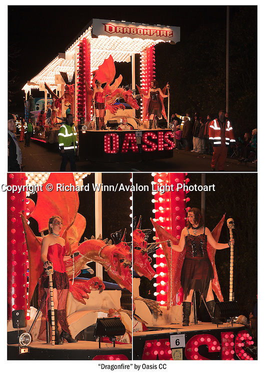 A cluster of three photographs of Dragonfire, the 2010 entry by Oasis Carnival Club, as seen at Glastonbury and Chilkwell Carnival. Available as either an A4 or A3 print on heavyweight fine art paper.