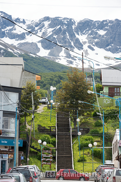 Mountains covered in snow even in summer tower above Ushuaia, Argentina.