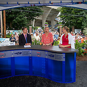 August 21, 2014, New Haven, CT:<br /> Petra Kvitova appears on the ESPN television set alongside hosts Sam Gore and Renee Stubbs after defeating Barbora Zahlavova Strycova on day seven of the 2014 Connecticut Open at the Yale University Tennis Center in New Haven, Connecticut Thursday, August 21, 2014.<br /> (Photo by Billie Weiss/Connecticut Open)