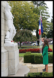 The Duke and Duchess of Cambridge  lay red roses at the War Memorial in the town of  Cambridge in New Zealand, Friday, 11th April 2014. Picture by Stephen Lock / i-Images