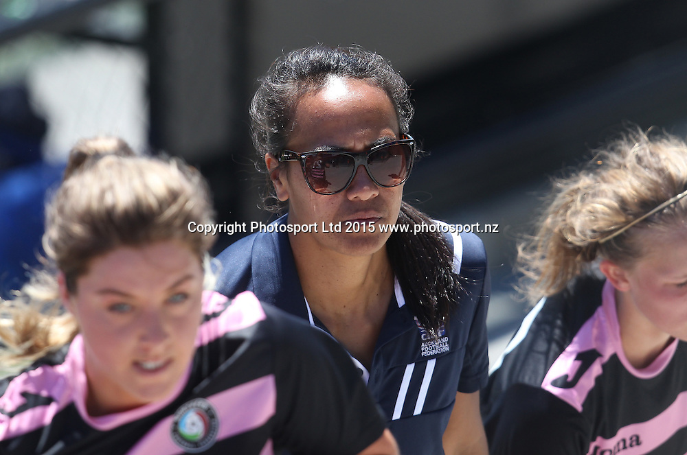 Auckland coach Kristy Hill. ASB Women's League, Auckland v Northern, William Green Domain Auckland, Sunday 8th November 2015. Copyright Photo: Shane Wenzlick
