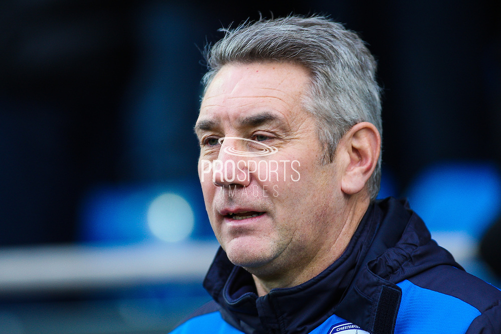Chesterfield FC caretaker manager Mark Smith during the The FA Cup match between Chesterfield and Walsall at the Proact stadium, Chesterfield, England on 5 December 2015. Photo by Aaron Lupton.