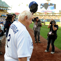 Former Los Angeles Dodgers manager Tommy Lasorda during the Old-Timers game after the Los Angeles Dodgers defeated the San Francisco Giants 6-2 during a Major league baseball game on Saturday, May 10, 2013 in Los Angeles. <br />  (Keith Birmingham/Pasadena Star-News)