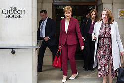 London, UK. 23 October, 2019. Nicola Sturgeon, First Minister of Scotland, leaves Church House in Westminster after addressing a press conference with Welsh First Minister Mark Drakeford on the morning after Parliament rejected Prime Minister Boris Johnson's fast-track timetable for ratifying the Brexit bill. She welcomed a pre-Christmas general election and made clear that the Prime Minister's 'bad' Brexit bill would be opposed by the devolved administrations in both Edinburgh and Cardiff.