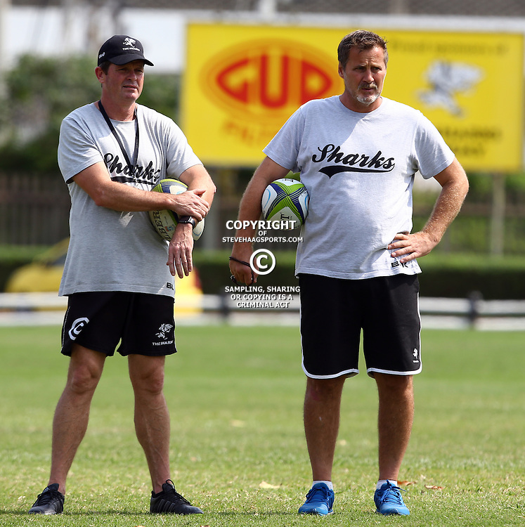 DURBAN, SOUTH AFRICA, 8 September, 2016 - Sean Everitt (Assistant Coach) of the Cell C Sharks with Robert du Preez (Head Coach) of the Cell C Sharks during The Cell C Sharks training session at Growthpoint Kings Park in Durban, South Africa. (Photo by Steve Haag)<br /> <br /> images for social media must have consent from Steve Haag