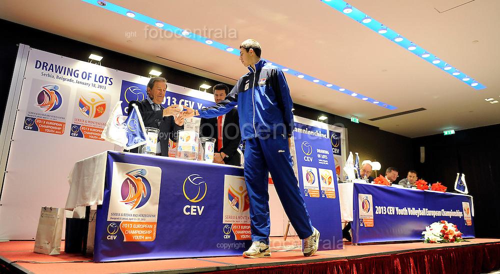 ODBOJKA, BEOGRAD, 18. Jan. 2013. - Svecana ceremonija zreba za Prvenstva Evrope u konkurenciji kadetkinja i kadeta odrzana je danas u beogradskom hotelu 'Metropol'.  Foto: Nenad Negovanovic