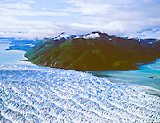 Aerial view of Hubbard Glacier, & Gilbert Point Wrangell-St. Elias National Park, Alaska