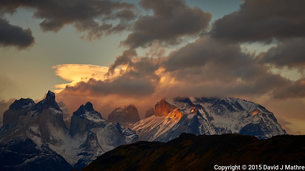 Sky, Clouds, and Mountains in Torres del Paine National Park. Image taken with a Fuji X-T1 camera and 55-200 mm telephoto lens.