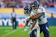 Tennessee Titans Dion Lewis RB (33) celebrates after his long run during the International Series match between Tennessee Titans and Los Angeles Chargers at Wembley Stadium, London, England on 21 October 2018.