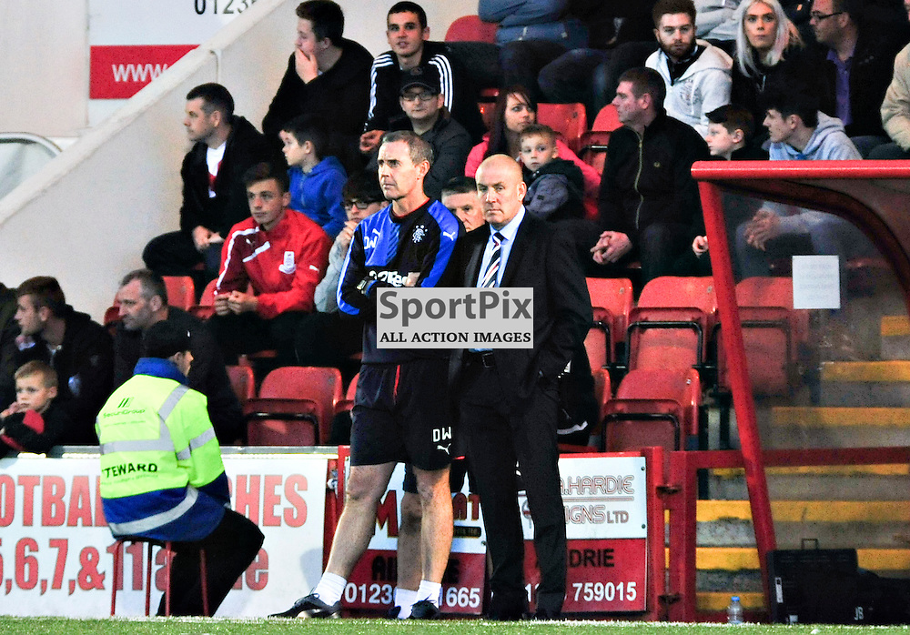 Rangers Management team of David Weir and Mark Warburton watch their side ease into the next round of the League Cup<br /> <br /> (c) BILLY WHITE | SportPix.org.uk