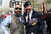 Chris Moulton & Mick Riley (RSM)The organisers during the demonstration in support of Soldier F by former service personnel in Central Manchester on 19 April 2019.
