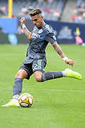 Ronald Matarrita NYCFC kicking the ball against San Jose Earthquakes during a MLS soccer game, Saturday, Sept. 14, 2019, in New York.NYCFC defeated San Jose Earthquakes 2-1.(Errol Anderson/Image of Sport)