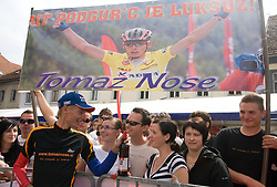 Second placed in general classification Tomaz Nose of Slovenia (Adria Mobil) with his fans at the flower ceremony in Novo mesto after 4th stage of Tour de Slovenie 2009 from Sentjernej to Novo mesto, 153 km, on June 21 2009, Slovenia. (Photo by Vid Ponikvar / Sportida)