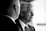 JPMorgan Chase CEO Jamie Dimon is seen during his visit to Detroit on the one year anniversary of the firm's $100 million commitment to the city's revitalization, on Monday, May 18, 2015 in Detroit. (Photo by Rick Osentoski/Invision for JPMorgan Chase Co./AP Images)