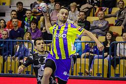 Luka Zvizej #77 of RK Celje Pivovarna Lasko during handball match between RK Celje Pivovarna Lasko (SLO) and Besiktas J.K. (TUR)  in 14th Round of EHF Men's Champions League 2015/16, on March 5, 2016 in Arena Zlatorog, Celje, Slovenia. (Photo by Ziga Zupan / Sportida)