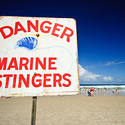 Marine stingers warning at the beach at Surfers' Paradise