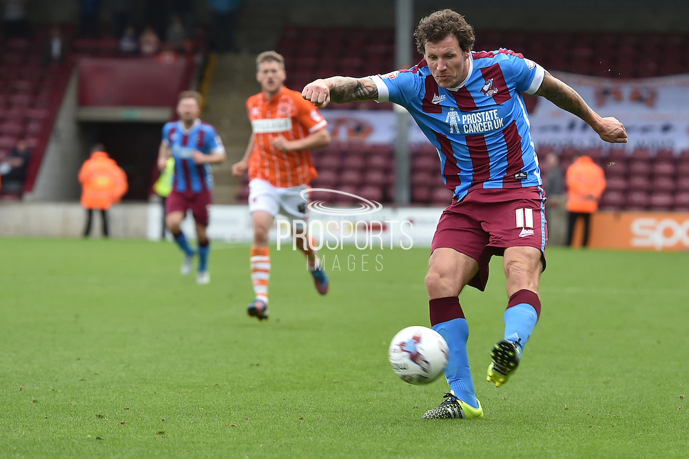 Darius Henderson  during the Sky Bet League 1 match between Scunthorpe United and Blackpool at Glanford Park, Scunthorpe, England on 5 September 2015. Photo by Ian Lyall.