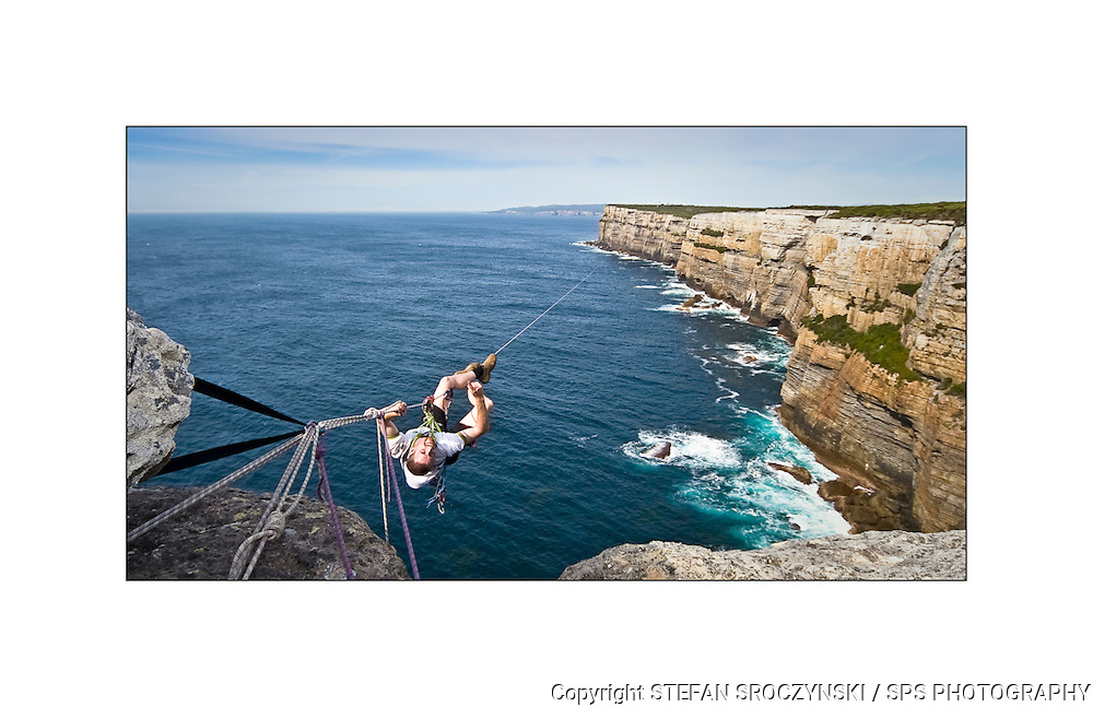 In an attempt to break the world record for the longest manual rope traverse, Richard Bock dragged (with help) 1.2km of rope along the cliff tops at Point Perpendicular on the NSW south coast before tensioning it up for his record attempt. He completed the task only to find that 3 weeks earlier a team of Bulgarians had traversed 1.5km.