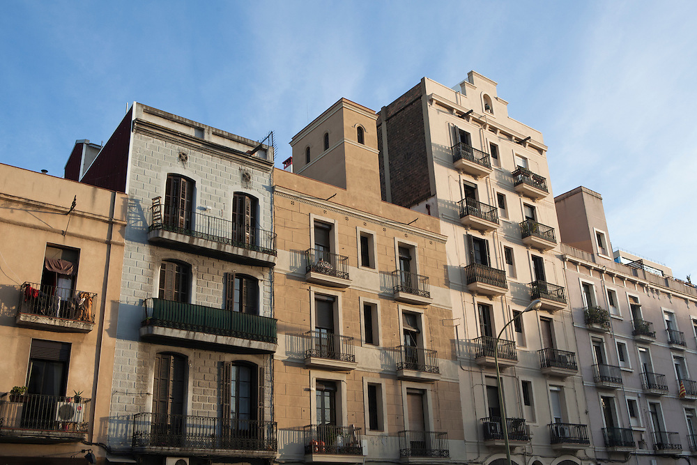Traditional architecture in the Poblenou neighbourhood of Barcelona, Catalonia, Spain.