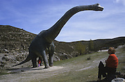 Replica of Brachiosaurus dinosaur at Valdecevillo site in ENCISO La Rioja region Spain