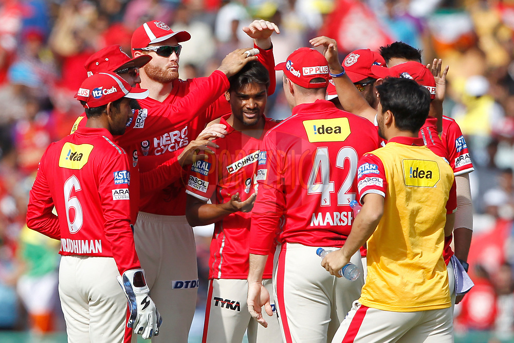Sandeep Sharma of Kings XI Punjab celebrates the wicket of Sanju Samson of the Delhi Daredevils during match 36 of the Vivo 2017 Indian Premier League between the Kings XI Punjab and the Delhi Daredevils  held at the Punjab Cricket Association IS Bindra Stadium in Mohali, India on the 30th April 2017<br /> <br /> Photo by Deepak Malik - Sportzpics - IPL