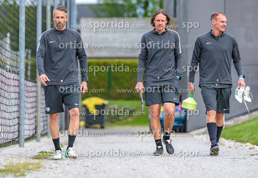 02.05.2018, Trainingsgelände, Salzburg, AUT, UEFA EL, FC Salzburg vs Olympique Marseille, Halbfinale, Rueckspiel, Training, im Bild Trainer Marco Rose (FC Salzburg), Co- Trainer Rene Aufhauser (FC Salzburg), Co- Trainer Alexander Zickler (FC Salzburg) // during a Trainingssession before the UEFA Europa League Semifinal, 2nd Leg Match between FC Salzburg and Olympique Marseille at the Trainingsground in Salzburg, Austria on 2018/05/02. EXPA Pictures © 2018, PhotoCredit: EXPA/ JFK