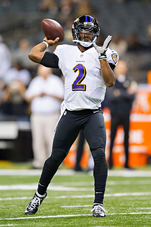 NEW ORLEANS, LA - NOVEMBER 24:  Tyrod Taylor #2 of the Baltimore Ravens warms up before a game against the New Orleans Saints at Mercedes-Benz Superdome on November 24, 2014 in New Orleans, Louisiana.  The Ravens defeated the Saints 34-27.  (Photo by Wesley Hitt/Getty Images) *** Local Caption *** Tyrod Taylor