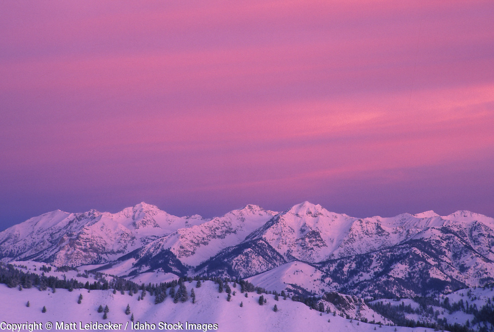 Idaho, Boulder Mountains.  Pink and blue sunrise.
